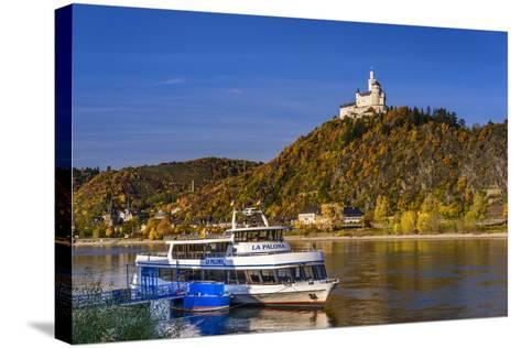 Germany, Rhineland-Palatinate, Upper Middle Rhine Valley, Braubach, the Rhine, Townscape, Marksburg-Udo Siebig-Stretched Canvas Print
