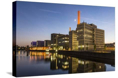 Germany, Hesse, Frankfurt on the Main, View at the Office Buildings in the Westhafen at Dusk-Bernd Wittelsbach-Stretched Canvas Print
