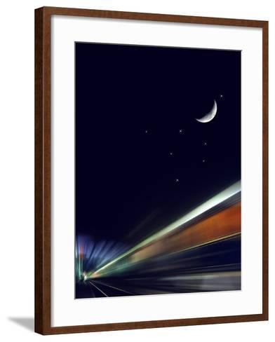 France, Paris, Gare De L'Est, Passenger Train, Sleeping Car, Moon, Stars, Blur-Harald Schšn-Framed Art Print