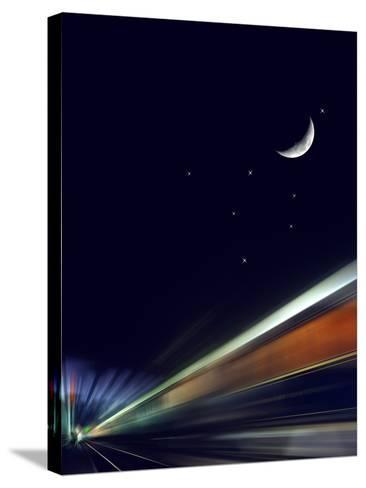 France, Paris, Gare De L'Est, Passenger Train, Sleeping Car, Moon, Stars, Blur-Harald Schšn-Stretched Canvas Print