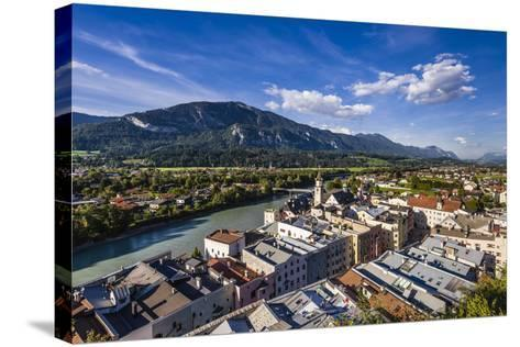 Austria, Tyrol, Inn Valley, Rattenberg, View from Schlossberg Old Town and Inn-Udo Siebig-Stretched Canvas Print
