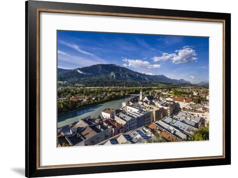 Austria, Tyrol, Inn Valley, Rattenberg, View from Schlossberg Old Town and Inn-Udo Siebig-Framed Art Print