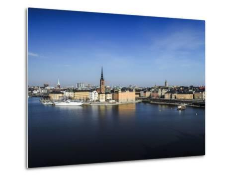 Cityscape, Stockholm, View on Districts Riddarholmen, Gamla Stan and Kungsholmen-Frina-Metal Print