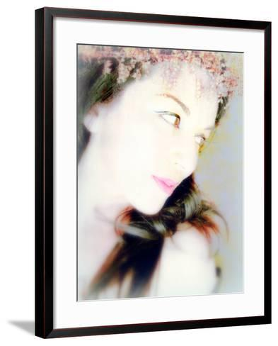 Portrait of a Woman with Flowers in Her Dark Hair-Alaya Gadeh-Framed Art Print