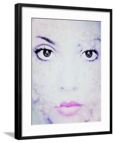 Close-Up Portrait of a Womand with Big Dark Eyes with Floral Ornaments in Monotone High Key-Alaya Gadeh-Framed Art Print