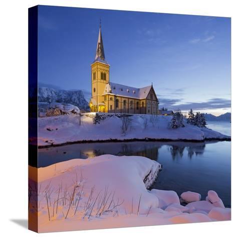 Church in Vagan (Municipality), Ausvagoya (Island), Lofoten, 'Nordland' (County), Norway-Rainer Mirau-Stretched Canvas Print