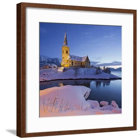 Church in Vagan (Municipality), Ausvagoya (Island), Lofoten, 'Nordland' (County), Norway-Rainer Mirau-Framed Art Print