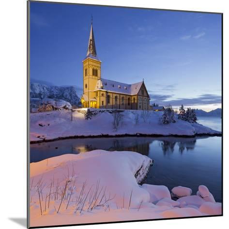 Church in Vagan (Municipality), Ausvagoya (Island), Lofoten, 'Nordland' (County), Norway-Rainer Mirau-Mounted Photographic Print