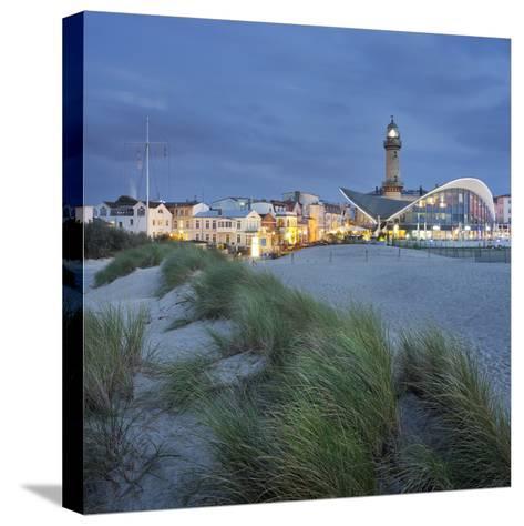 Lighthouse of WarnemŸnde, Dunes, Mecklenburg-Western Pomerania, Germany-Rainer Mirau-Stretched Canvas Print