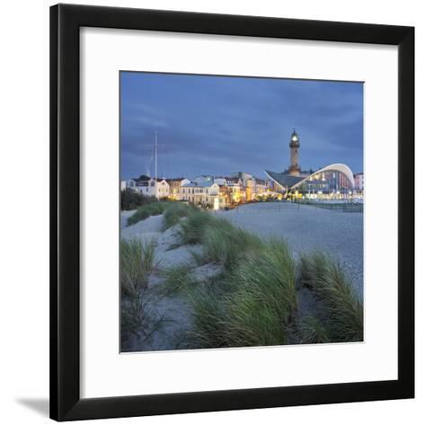 Lighthouse of WarnemŸnde, Dunes, Mecklenburg-Western Pomerania, Germany-Rainer Mirau-Framed Art Print