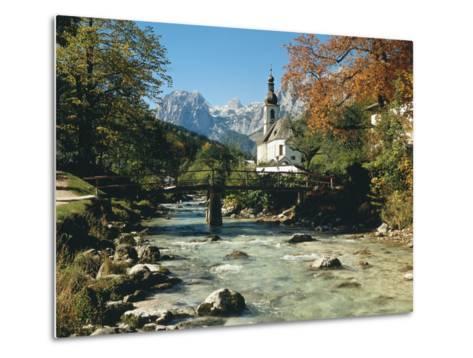 Germany, Berchtesgadener Land District, Ramsau, Church, Brook, Reiter Alpe-Thonig-Metal Print
