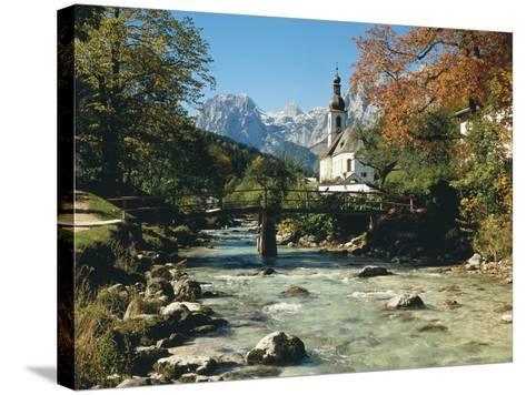 Germany, Berchtesgadener Land District, Ramsau, Church, Brook, Reiter Alpe-Thonig-Stretched Canvas Print