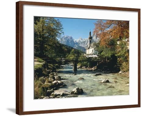 Germany, Berchtesgadener Land District, Ramsau, Church, Brook, Reiter Alpe-Thonig-Framed Art Print