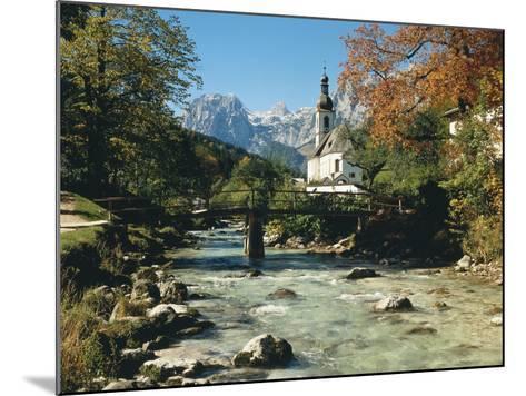 Germany, Berchtesgadener Land District, Ramsau, Church, Brook, Reiter Alpe-Thonig-Mounted Photographic Print