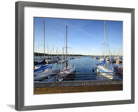 Germany, Saxony-Anhalt, MŸcheln, Geiseltalsee, Marina, Sailboats in the Evening Light-Andreas Vitting-Framed Art Print