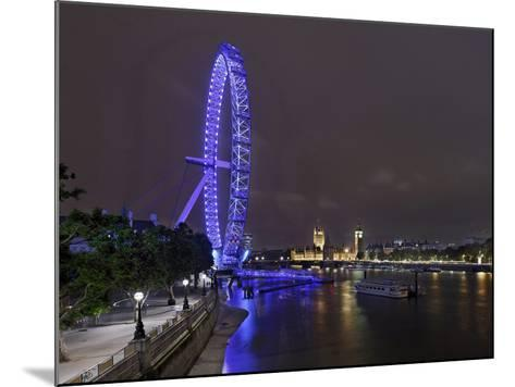 The Thames with London Eye and the Houses of Parliament, Parliament Building, London-Axel Schmies-Mounted Photographic Print