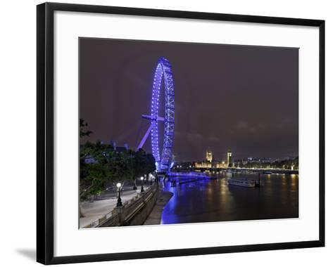 The Thames with London Eye and the Houses of Parliament, Parliament Building, London-Axel Schmies-Framed Art Print