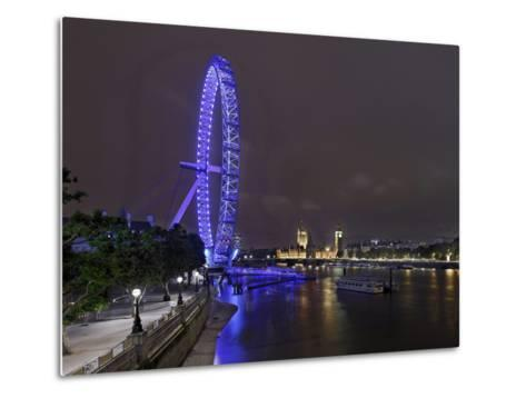 The Thames with London Eye and the Houses of Parliament, Parliament Building, London-Axel Schmies-Metal Print