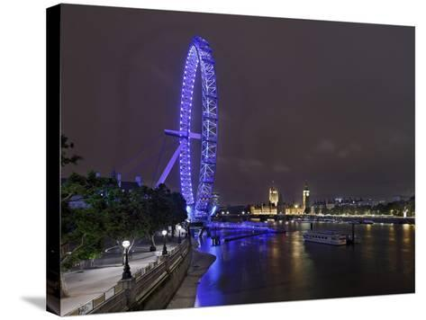 The Thames with London Eye and the Houses of Parliament, Parliament Building, London-Axel Schmies-Stretched Canvas Print