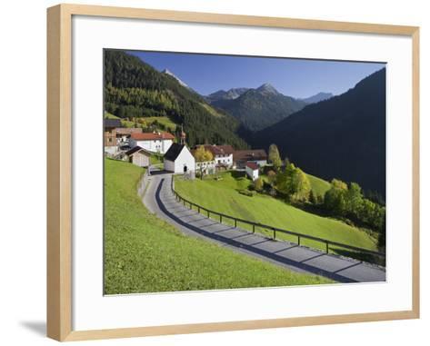 Austria, Tyrol, Au§erfern (Mountain Range), Mitteregg, Street, View of a Place, Church-Rainer Mirau-Framed Art Print