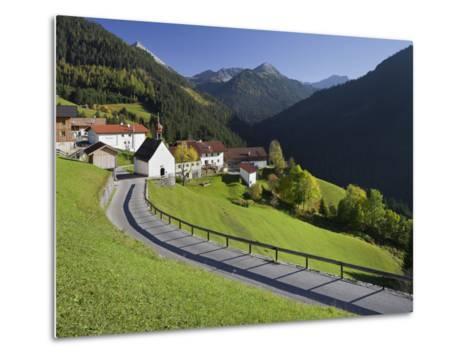Austria, Tyrol, Au§erfern (Mountain Range), Mitteregg, Street, View of a Place, Church-Rainer Mirau-Metal Print