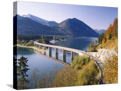 Germany, Upper Bavaria, Reservoir, 'Sylvensteinstausee', Bridge, Autumn-Thonig-Stretched Canvas Print