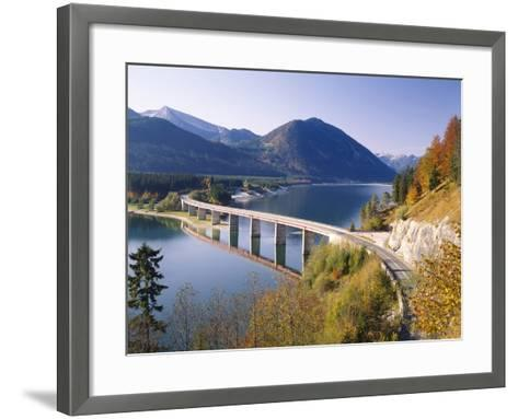 Germany, Upper Bavaria, Reservoir, 'Sylvensteinstausee', Bridge, Autumn-Thonig-Framed Art Print