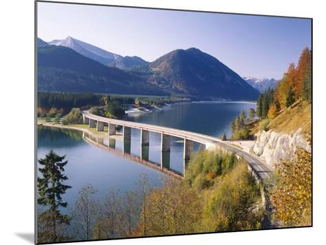 Germany, Upper Bavaria, Reservoir, 'Sylvensteinstausee', Bridge, Autumn-Thonig-Mounted Photographic Print