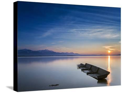 Boat Wreck in the Afterglow at Chiemsee, Bavaria, Germany, Europe-Dieter Meyrl-Stretched Canvas Print