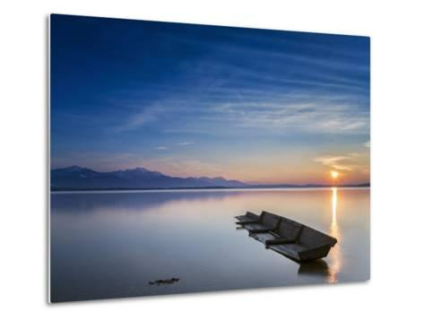 Boat Wreck in the Afterglow at Chiemsee, Bavaria, Germany, Europe-Dieter Meyrl-Metal Print