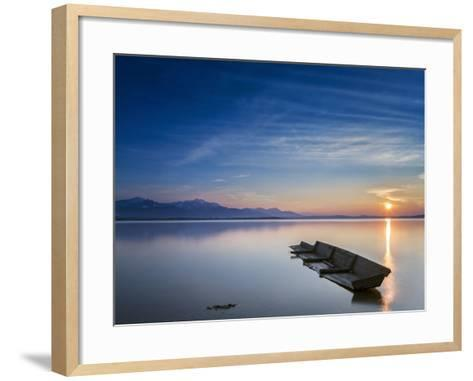 Boat Wreck in the Afterglow at Chiemsee, Bavaria, Germany, Europe-Dieter Meyrl-Framed Art Print