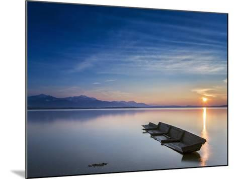 Boat Wreck in the Afterglow at Chiemsee, Bavaria, Germany, Europe-Dieter Meyrl-Mounted Photographic Print