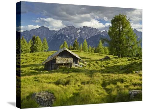 Wooden Hut on the Winkleralm, Lienz Dolomites, East Tyrol, Tyrol, Austria-Rainer Mirau-Stretched Canvas Print