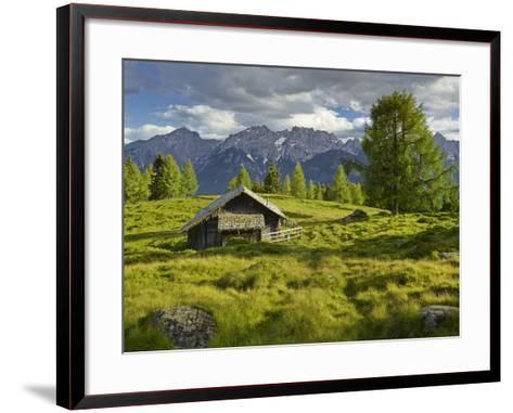 Wooden Hut on the Winkleralm, Lienz Dolomites, East Tyrol, Tyrol, Austria-Rainer Mirau-Framed Art Print