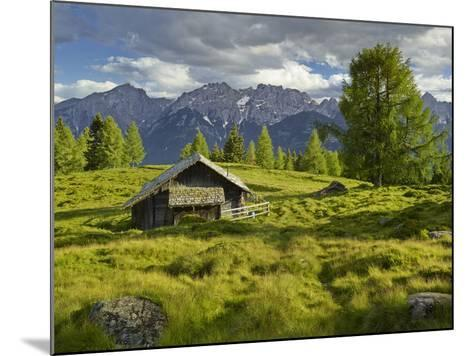 Wooden Hut on the Winkleralm, Lienz Dolomites, East Tyrol, Tyrol, Austria-Rainer Mirau-Mounted Photographic Print