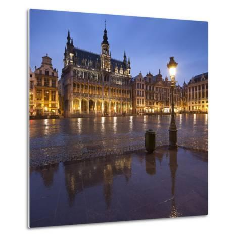 Belgium, Brussels, Grand-Place, Grote Markt, Evening-Rainer Mirau-Metal Print