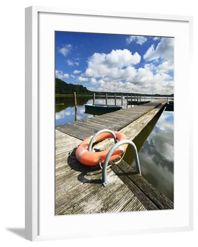 Germany, Brandenburg, Himmelpfort, Moderfitzsee, Jetty, Rowing Boats, Lifebelt-Andreas Vitting-Framed Art Print