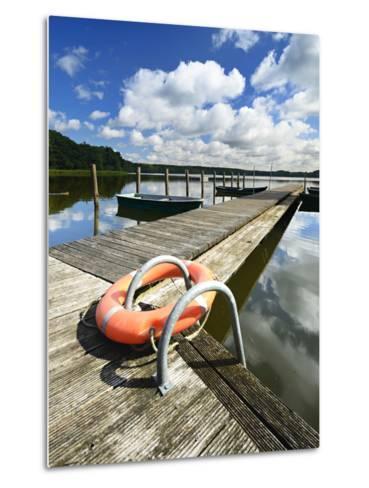 Germany, Brandenburg, Himmelpfort, Moderfitzsee, Jetty, Rowing Boats, Lifebelt-Andreas Vitting-Metal Print