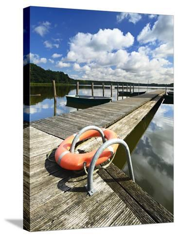 Germany, Brandenburg, Himmelpfort, Moderfitzsee, Jetty, Rowing Boats, Lifebelt-Andreas Vitting-Stretched Canvas Print