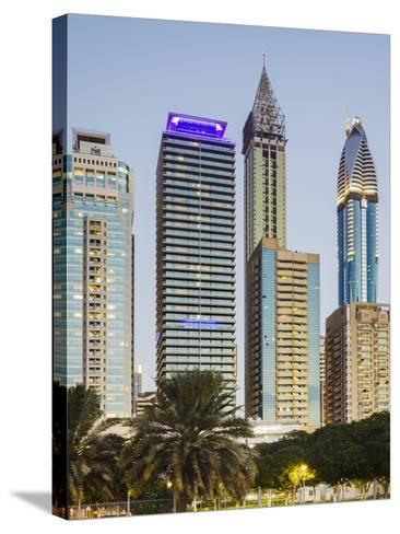Skyscrapers at Sheikh Zayed Road, Dubai, United Arab Emirates-Rainer Mirau-Stretched Canvas Print