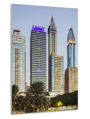 Skyscrapers at Sheikh Zayed Road, Dubai, United Arab Emirates-Rainer Mirau-Metal Print
