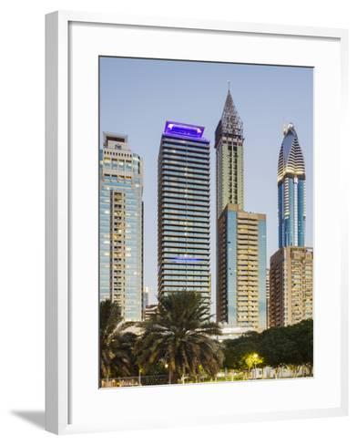 Skyscrapers at Sheikh Zayed Road, Dubai, United Arab Emirates-Rainer Mirau-Framed Art Print