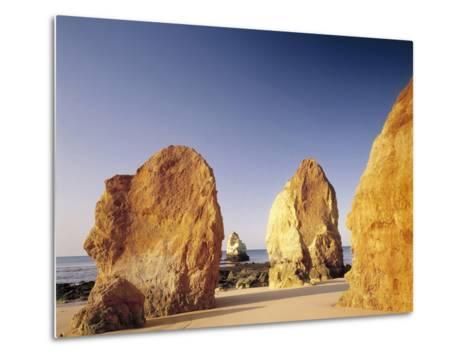 Portugal, Algarve, Praia Da Rocha, Beach, Rock Formations, Sea-Thonig-Metal Print