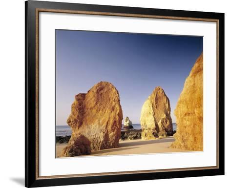 Portugal, Algarve, Praia Da Rocha, Beach, Rock Formations, Sea-Thonig-Framed Art Print