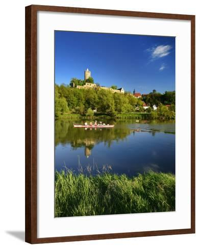 Germany, Saxony-Anhalt, Rowing Boat in Front of Castle and Village Schšnburg at the Saale-Andreas Vitting-Framed Art Print
