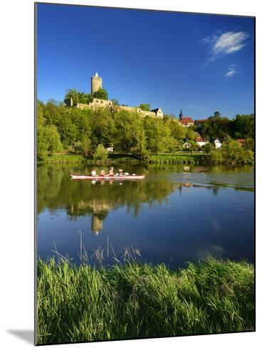 Germany, Saxony-Anhalt, Rowing Boat in Front of Castle and Village Schšnburg at the Saale-Andreas Vitting-Mounted Photographic Print