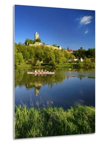 Germany, Saxony-Anhalt, Rowing Boat in Front of Castle and Village Schšnburg at the Saale-Andreas Vitting-Metal Print