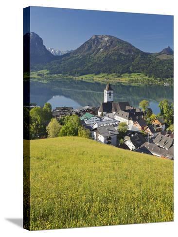 Austria, Upper Austria, Saint Wolfgang, Lake Wolfgangsee, Steeple-Rainer Mirau-Stretched Canvas Print