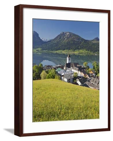 Austria, Upper Austria, Saint Wolfgang, Lake Wolfgangsee, Steeple-Rainer Mirau-Framed Art Print