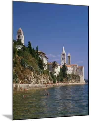 Croatia, Dalmatia, Rab Island, Rab City, Old Town, Cityscape, Beach, Swimmers-Thonig-Mounted Photographic Print